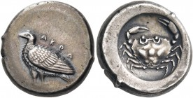 SICILY. Akragas. Circa 488/85 - 480/78 BC. Didrachm (Silver, 19 mm, 8.87 g, 7 h). ΑΚRΑ Eagle standing left with closed wings. Rev. Crab within a circu...