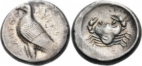 SICILY. Akragas. Circa 465/4-446 BC. Tetradrachm (Silver, 25 mm, 17.42 g, 1 h). AKRAC - ANTOΣ Eagle standing to left. Rev. Crab seen from above. BMC 3...
