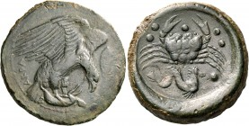 SICILY. Akragas. Circa 415-406 BC. Hemilitron (Bronze, 30 mm, 20.77 g, 3 h). AKPA Eagle right, clutching dead hare in its talons; to right, leaf. Rev....