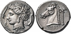 SICILY. Entella. Punic issues, circa 320-315 BC. Tetradrachm (Silver, 25 mm, 17.18 g, 2 h). Head of Persephone to left, wearing wreath of wheat leaves...