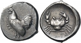 SICILY. Himera. Circa 480-470 BC. Didrachm (Silver, 21 mm, 8.38 g, 8 h). ΗΙΜΕRΑ Cock standing to left. Rev. Crab within shallow circular incuse. SNG A...