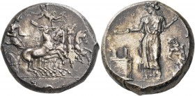 SICILY. Himera. Circa 420-410 BC. Tetradrachm (Silver, 24 mm, 17.65 g, 3 h), signed by the engraver Mai.... The nymph Himera, wearing chiton and peplo...