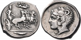 SICILY. Kamarina. Circa 425-405 BC. Tetradrachm (Silver, 27 mm, 17.17 g, 11 h). Athena, wearing helmet, aegis and a long chiton, and holding a kentron...