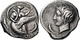 SICILY. Kamarina. Circa 405 BC. Didrachm (Silver, 21 mm, 7.89 g, 1 h). KAM – A – [PI] – N[A] (retrograde) The nymph Kamarina, her head turned to left,...