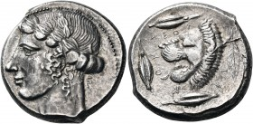 SICILY. Leontini. 440-430 BC. Tetradrachm (Silver, 23.5 mm, 17.38 g, 4 h), with dies engraved by the Leaf Master – il maestro della foglia. Laureate h...
