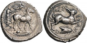 SICILY. Messana. 425-421 BC. Tetradrachm (Silver, 29 mm, 17.29 g, 6 h). The Nymph Messana, wearing chiton and peplos, standing right, holding a goad i...