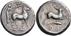 SICILY. Messana. 425-421 BC. Tetradrachm (Silver, 25 mm, 17.26 g, 7 h). The Nymph Messana, wearing long chiton and holding whip in her right hand and ...