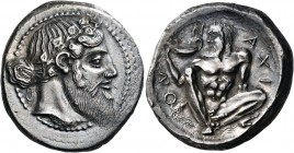 SICILY. Naxos. Circa 460. Tetradrachm (Silver, 29.5 mm, 17.19 g, 10 h). Bearded head of Dionysos to right, wearing ivy wreath, and with his hair tied ...