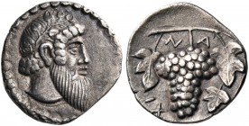 SICILY. Naxos. Circa 461-430 BC. Litra (Silver, 11 mm, 0.73 g, 6 h). Head of bearded Dionysos to right, wearing ivy wreath. Rev. Ν-Α /ΧΙ Bunch of grap...