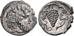 SICILY. Naxos. Circa 415-403 BC. Litra (Silver, 12 mm, 0.76 g, 6 h). NAΞI Head of bearded Dionysos to right, wearing ivy wreath. Rev. Bunch of grapes ...
