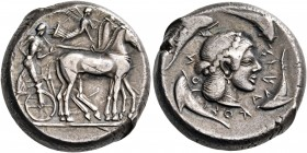 SICILY. Syracuse. Deinomenid Tyranny, 478-466 BC. Tetradrachm (Silver, 22 mm, 17.38 g, 3 h), struck under Hieron I, circa 475-470. Male charioteer, we...