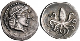 SICILY. Syracuse. Circa 474-450 BC. Litra (Silver, 13.5 mm, 0.74 g, 3 h). ΣVPA Pearl-diademed head of Arethusa to right, wearing a pendant earring, a ...