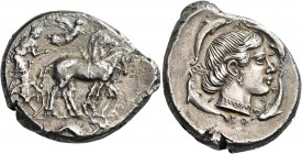 SICILY. Syracuse. Second Democracy, 466-405 BC. Tetradrachm (Silver, 28 mm, 17.07 g, 10 h), c. 450. Charioteer driving quadriga walking to right, hold...