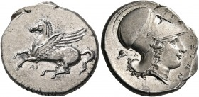 SICILY. Syracuse. Time of Timoleon, 344-339/335 BC. Stater (Silver, 23 mm, 8.64 g, 10 h). Pegasos flying to left with straight wing; below, ΑΙ. Rev. Σ...
