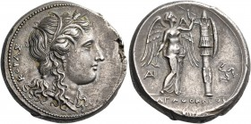 SICILY. Syracuse. Agathokles, 317-289 BC. Tetradrachm (Silver, 26.5 mm, 16.82 g, 4 h), 305-295. ΚΟΡΑΣ Head of Kore to right, wearing grain wreath, pen...