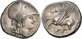 SICILY. Syracuse. Agathokles, 317-289 BC. Stater (Silver, 21 mm, 6.62 g, 6 h), c. 300. Head of Athena to right, wearing Corinthian helmet, pendant ear...