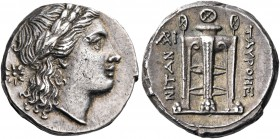 SICILY. Tauromenion. Circa 304-289 BC. 4 Litrai (Silver, 15.5 mm, 3.24 g, 5 h). Laureate head of Apollo to right; behind, star of eight rays. Rev. TAY...