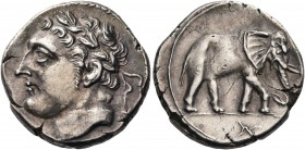 CARTHAGE, Siculo-Punic. uncertain Carthaginian military mint in Sicily. Circa 213-210 BC. Shekel (Silver, 20.5 mm, 7.06 g, 11 h). Laureate male head t...