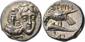 MOESIA. Istros. Circa 313-280 BC. Drachm (Silver, 18 mm, 6.04 g, 11 h). Two facing male heads, shown tête-bêche with the left head inverted. Rev. ΙΣΤΡ...