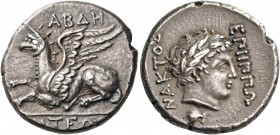 THRACE. Abdera. Circa 336-311 BC. Stater (Silver, 23.5 mm, 10.49 g, 7 h), struck under the magistrate Hipponax. ΑΒΔΗ / ΡΙΤΕΩΝ Griffin lying to left. R...