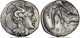 CALABRIA. Tarentum. Ca. 380-280 BC. AR diobol (11mm, 1h). NGC XF 4/5 - 5/5, Fine Style. Head of Athena right, wearing crested Attic helmet decorated w...