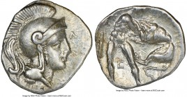CALABRIA. Tarentum. Ca. 380-280 BC. AR diobol (12mm, 2h). NGC XF. Head of Athena right, wearing crested Attic helmet, Λ before / TAPAΣ, Hercules stand...