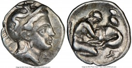CALABRIA. Tarentum. Ca. 380-280 BC. AR diobol (12mm, 9h). NGC Choice VF. Head of Athena right, wearing crested Attic helmet decorated with figure of S...