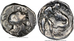CALABRIA. Tarentum. Ca. 380-280 BC. AR diobol (12mm, 9h). NGC VF. Head of Athena right, wearing crested Attic helmet decorated with figure of Scylla h...