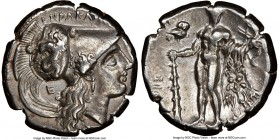 LUCANIA. Heraclea. Ca. 281-250 BC. AR stater (20mm, 7.84 gm, 6h). NGC Choice XF 4/5 - 4/5. ΗΕPΑΚΛΗΙΩ-Ν, head of Athena right, wearing Corinthian helme...