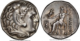 MACEDONIAN KINGDOM. Alexander III the Great (336-323 BC). AR tetradrachm (26mm, 16.92 gm, 7h). NGC Choice AU 5/5 - 3/5, brushed, die shift. Posthumous...
