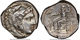 MACEDONIAN KINGDOM. Alexander III the Great (336-323 BC). AR tetradrachm (25mm, 17.12 gm, 5h). NGC AU 4/5 - 4/5, flan flaws. Posthumous issue of uncer...