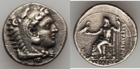 MACEDONIAN KINGDOM. Alexander III the Great (336-323 BC). AR tetradrachm (27mm, 16.81 gm, 10h). VF. Late lifetime-early posthumous issue of Aradus, ca...
