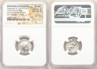 MACEDONIAN KINGDOM. Alexander III the Great (336-323 BC). AR drachm (18mm, 4.28 gm, 12h). NGC Choice AU 4/5 - 4/5, flan flaw. Late lifetime-early post...