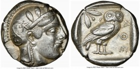 ATTICA. Athens. Ca. 455-440 BC. AR tetradrachm (24mm, 17.18 gm, 4h). NGC Choice XF 5/5 - 4/5. Early transitional issue. Head of Athena right, wearing ...