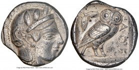 ATTICA. Athens. Ca. 455-440 BC. AR tetradrachm (24mm, 17.17 gm, 5h). NGC Choice XF 4/5 - 3/5. Early transitional issue. Head of Athena right, wearing ...