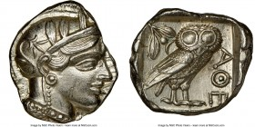 ATTICA. Athens. Ca. 440-404 BC. AR tetradrachm (24mm, 17.27 gm, 11h). NGC MS 5/5 - 4/5, brushed. Mid-mass coinage issue. Head of Athena right, wearing...