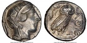 ATTICA. Athens. Ca. 440-404 BC. AR tetradrachm (24mm, 17.19 gm, 8h). NGC MS 5/5 - 3/5. Mid-mass coinage issue. Head of Athena right, wearing crested A...