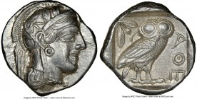 ATTICA. Athens. Ca. 440-404 BC. AR tetradrachm (25mm, 17.17 gm, 10h). NGC Choice AU 5/5 - 4/5. Mid-mass coinage issue. Head of Athena right, wearing c...