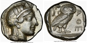 ATTICA. Athens. Ca. 440-404 BC. AR tetradrachm (24mm, 17.17 gm, 6h). NGC AU S 5/5 - 5/5. Mid-mass coinage issue. Head of Athena right, wearing crested...