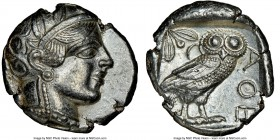 ATTICA. Athens. Ca. 440-404 BC. AR tetradrachm (26mm, 17.13 gm, 3h). NGC AU 5/5 - 3/5. Mid-mass coinage issue. Head of Athena right, wearing crested A...
