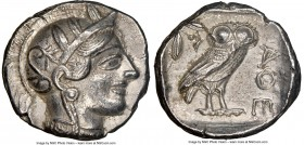 ATTICA. Athens. Ca. 440-404 BC. AR tetradrachm (24mm, 17.13 gm, 7h). NGC AU 5/5 - 3/5. Mid-mass coinage issue. Head of Athena right, wearing crested A...