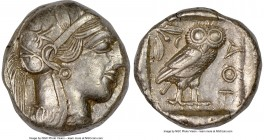 ATTICA. Athens. Ca. 440-404 BC. AR tetradrachm (24mm, 17.15 gm, 3h). NGC AU 4/5 - 4/5. Mid-mass coinage issue. Head of Athena right, wearing crested A...