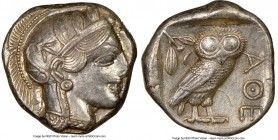 ATTICA. Athens. Ca. 440-404 BC. AR tetradrachm (24mm, 17.18 gm, 9h). NGC AU 4/5 - 4/5. Mid-mass coinage issue. Head of Athena right, wearing crested A...