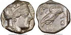 ATTICA. Athens. Ca. 440-404 BC. AR tetradrachm (24mm, 17.24 gm, 1h). NGC AU 4/5 - 4/5. Mid-mass coinage issue. Head of Athena right, wearing crested A...