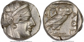 ATTICA. Athens. Ca. 440-404 BC. AR tetradrachm (22mm, 17.18 gm, 11h). NGC AU 4/5 - 4/5. Mid-mass coinage issue. Head of Athena right, wearing crested ...