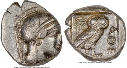 ATTICA. Athens. Ca. 440-404 BC. AR tetradrachm (25mm, 17.20 gm, 3h). NGC AU 3/5 - 4/5. Mid-mass coinage issue. Head of Athena right, wearing crested A...