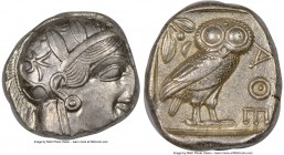 ATTICA. Athens. Ca. 440-404 BC. AR tetradrachm (24mm, 17.19 gm, 4h). NGC AU 3/5 - 4/5. Mid-mass coinage issue. Head of Athena right, wearing crested A...