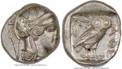 ATTICA. Athens. Ca. 440-404 BC. AR tetradrachm (24mm, 17.18 gm, 11h). NGC AU 2/5 - 4/5. Mid-mass coinage issue. Head of Athena right, wearing crested ...