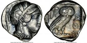 ATTICA. Athens. Ca. 440-404 BC. AR tetradrachm (22mm, 17.19 gm, 3h). NGC AU 2/5 - 4/5. Mid-mass coinage issue. Head of Athena right, wearing crested A...
