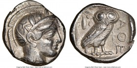 ATTICA. Athens. Ca. 440-404 BC. AR tetradrachm (24mm, 17.18 gm, 11h). NGC Choice XF 5/5 - 3/5. Mid-mass coinage issue. Head of Athena right, wearing c...
